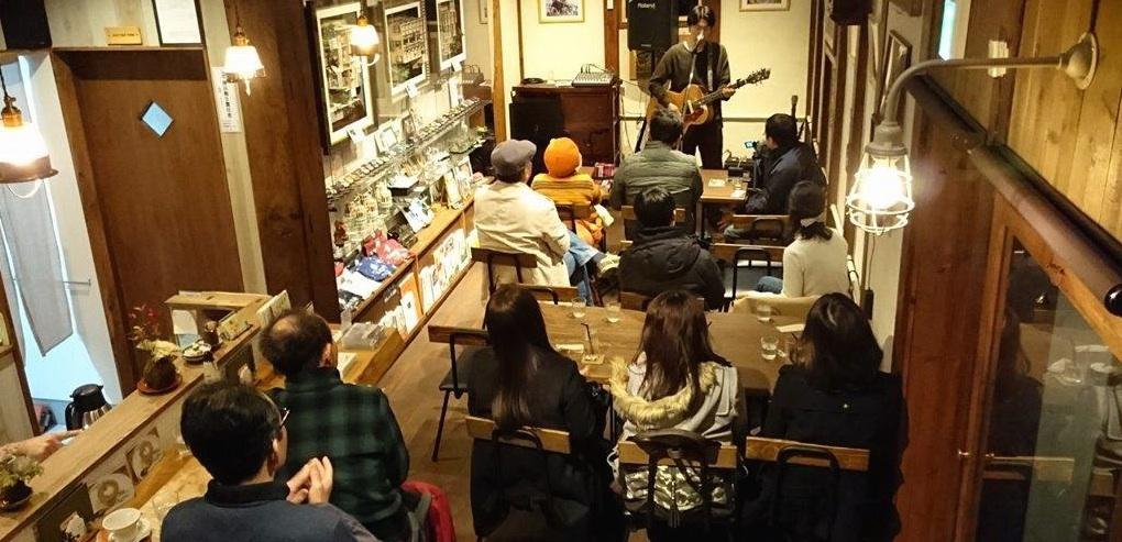 福井のカフェでのアコースティック/弾き語りライブ